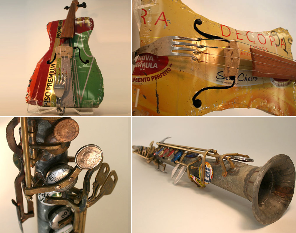 Instrumentos de la Orquesta de Cateura, creados mediante materiales de desecho en Asunción, Paraguay ©.