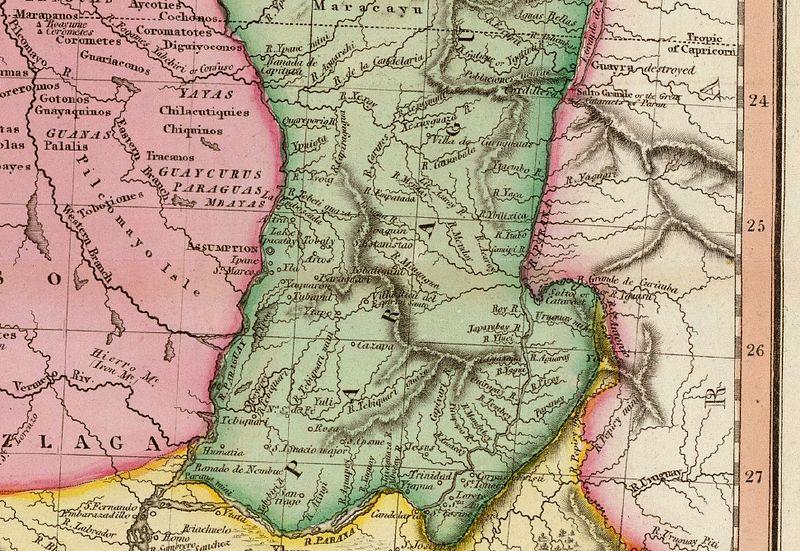 Mapa de Paraguay en 1812.