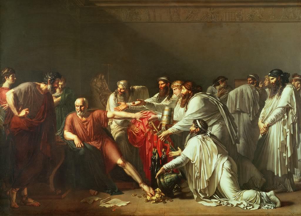 Hipócrates rechazando los regalos de Artajerjes, en un cuadro de Girodet-Trioson.